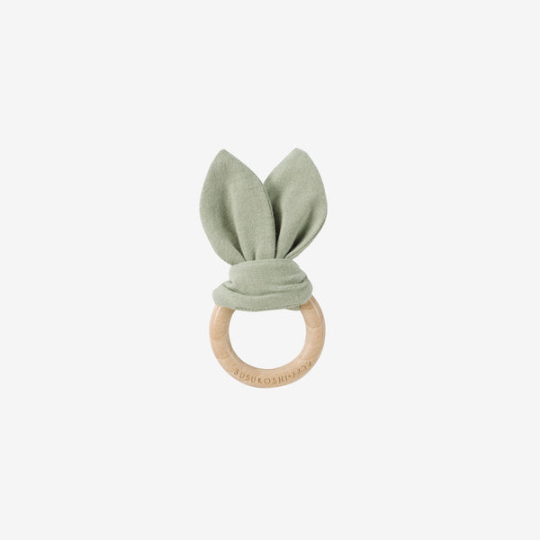 Organic Cotton & Wood Ring Baby Bunny Toy - Sage
