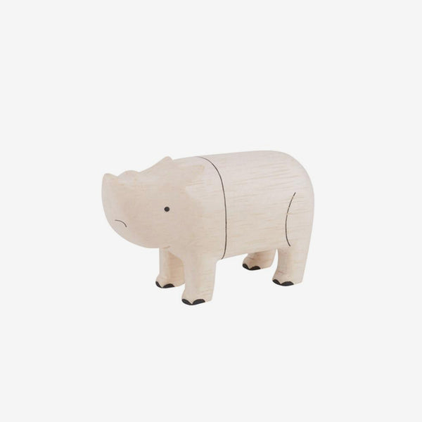 Polepole Miniature Wooden Animals - Rhino
