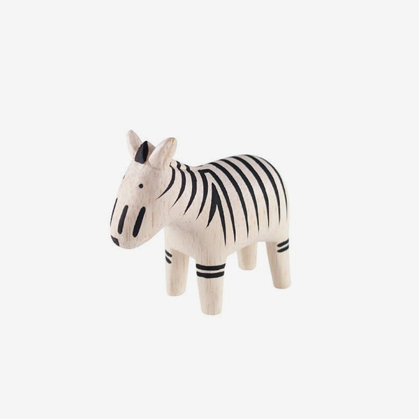 Polepole Miniature Wooden Animals - Zebra
