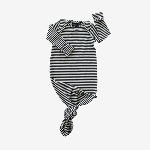 Bamboo Baby Sleeper Gown - Charcoal Stripe
