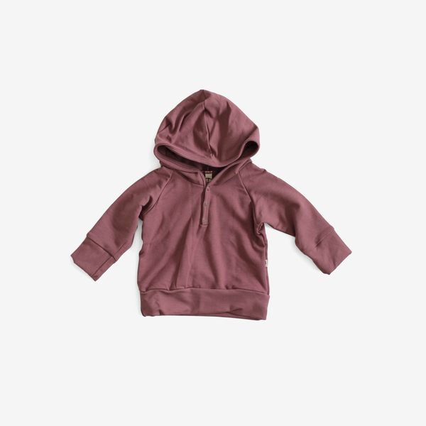 Bamboo Jersey Henley Hoodie - Rose Brown