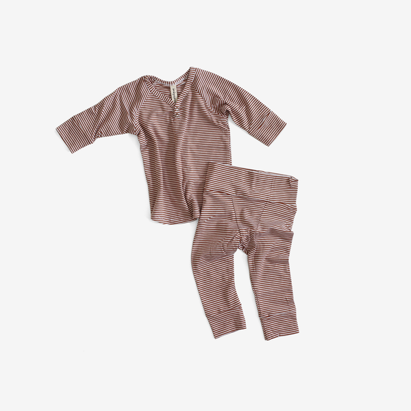 Bamboo Jersey PJs Lounge Set - Rust Stripe