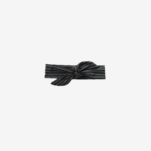 Bamboo Knotted Headband - Charcoal/Black Stripe