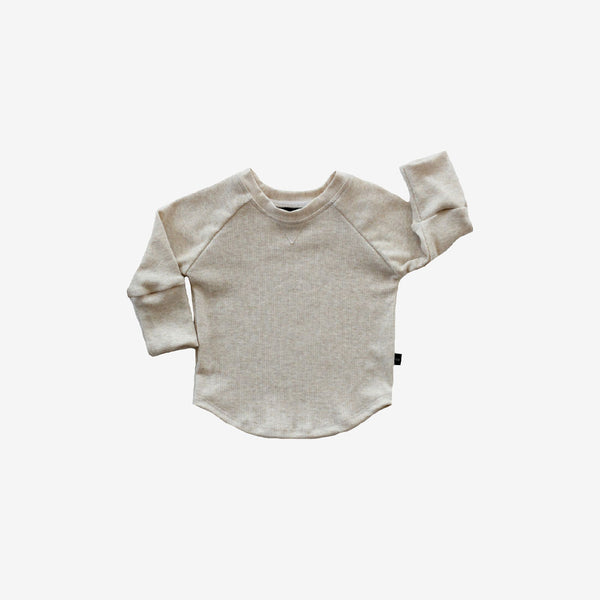 Bamboo Rib Raglan Tee - Almond Heather
