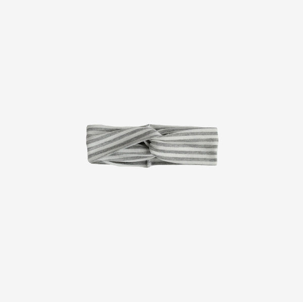Bamboo Turban Headband - Grey Stripe