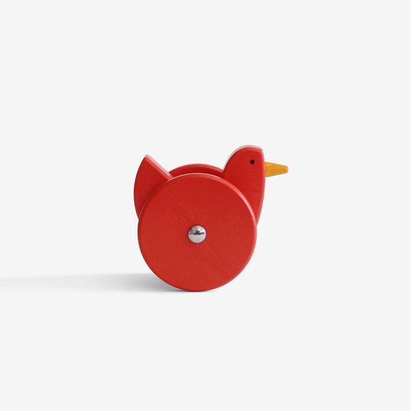 Wooden Wobbling Chicken - Coral Red