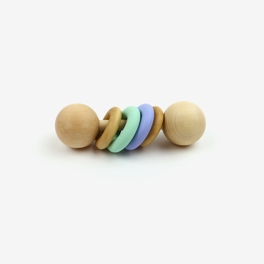 Colorblock Classic Rattle - Mint/Periwinkle
