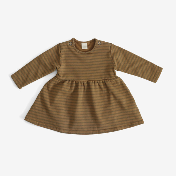 Niseko Organic Stripe Dress - Camel