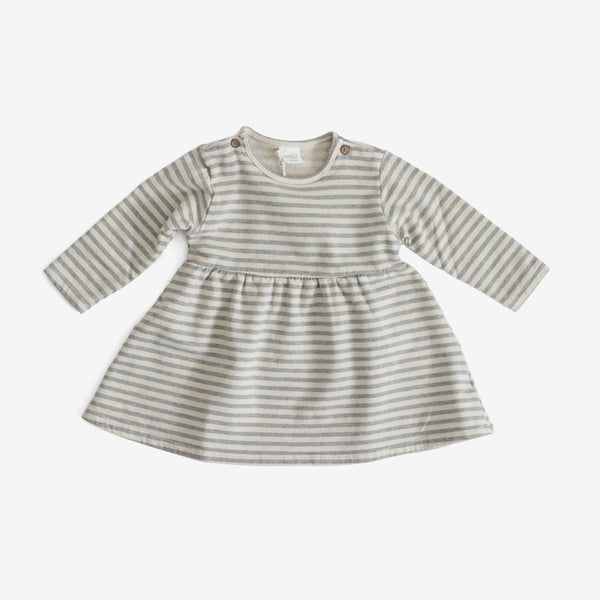 Niseko Organic Stripe Dress - Stone
