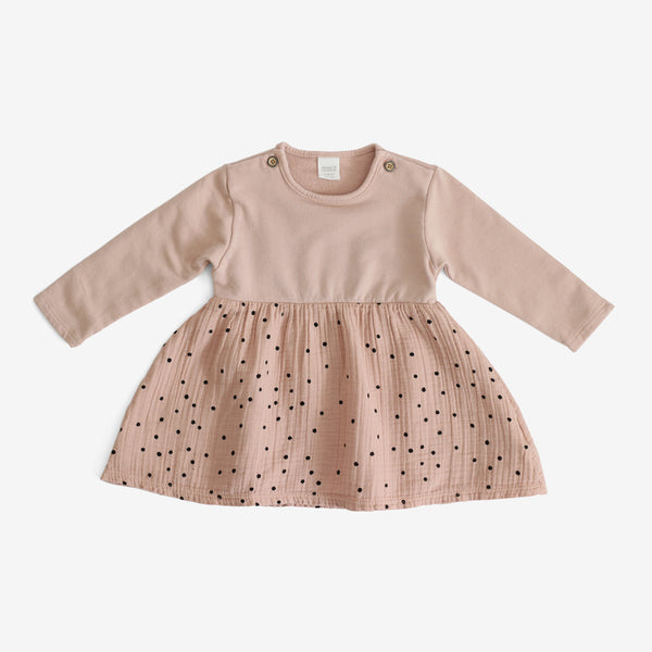 Niseko Polka Dot Crepe & Jersey Dress