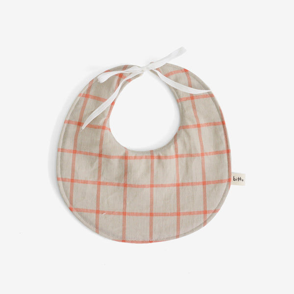 Organic Terry Baby Bib - Coral Plaid