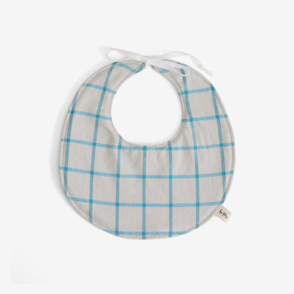 Organic Terry Baby Bib - Teal Plaid