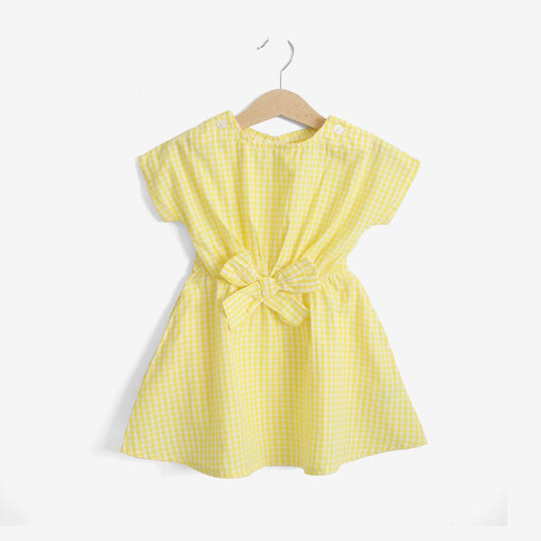 Girls 3-Pattern Dress - Yellow Gingham