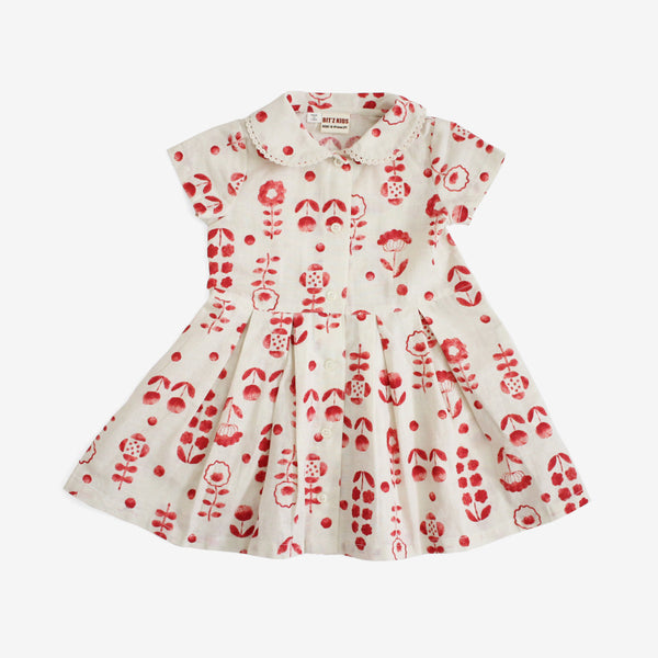 Retro Red Flowers Dress