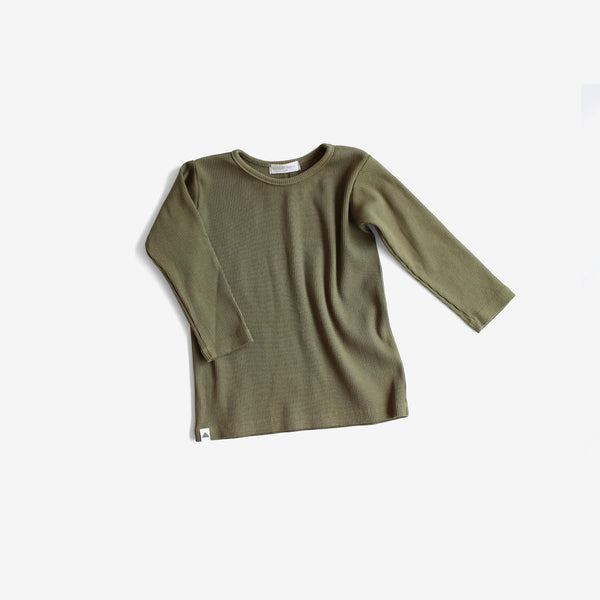 Basic Ribbed L/S Tee - Olive