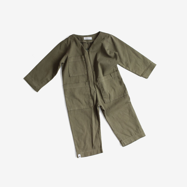 Cotton Woven Stretch Coverall - Olive