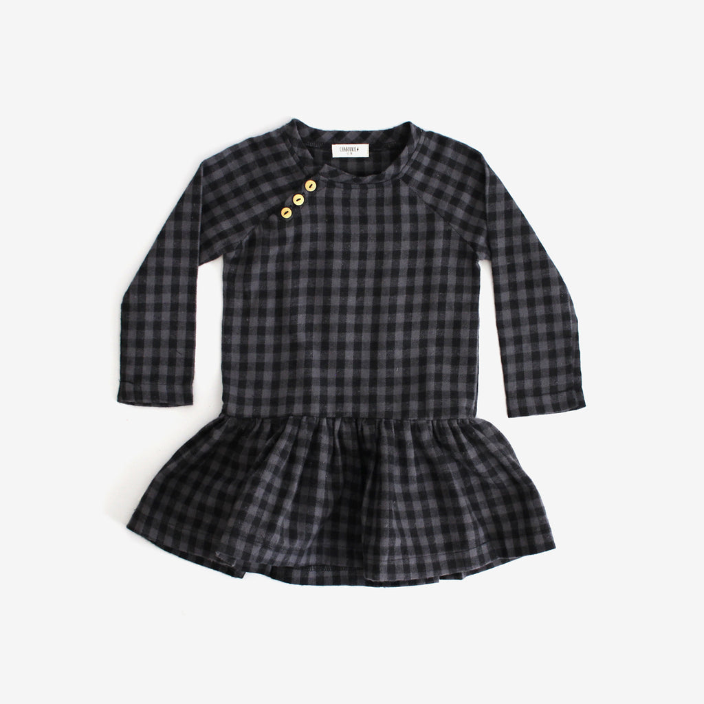 Drop Waist Woven Dress - Charcoal Check