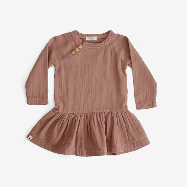 Drop Waist Woven Dress - Mauve Twill