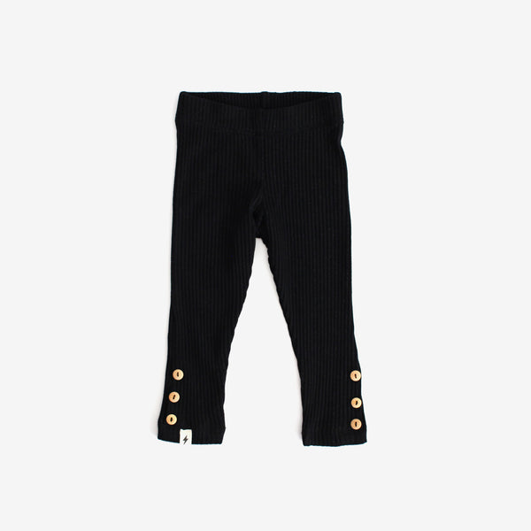 Ribbed Button Cuff Leggings - Black