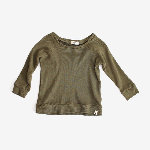 Thermal Raglan-sleeve Top - Olive