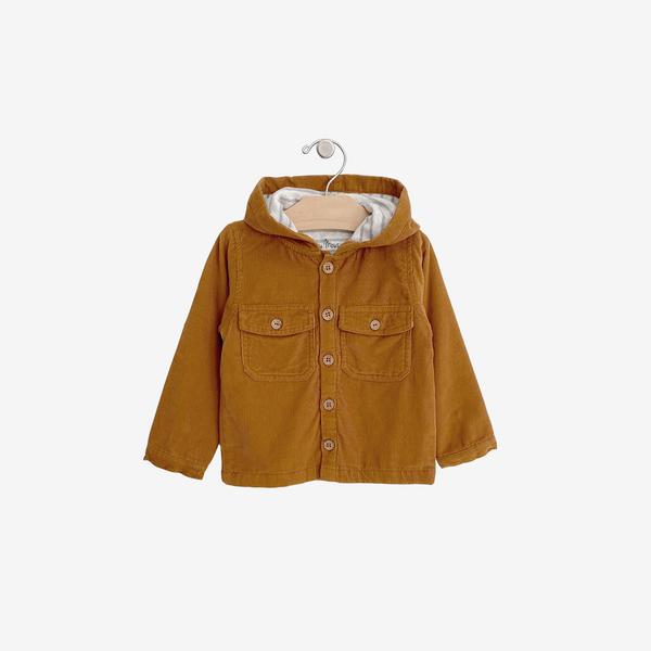 Organic Corduroy Hooded Jacket - Amber