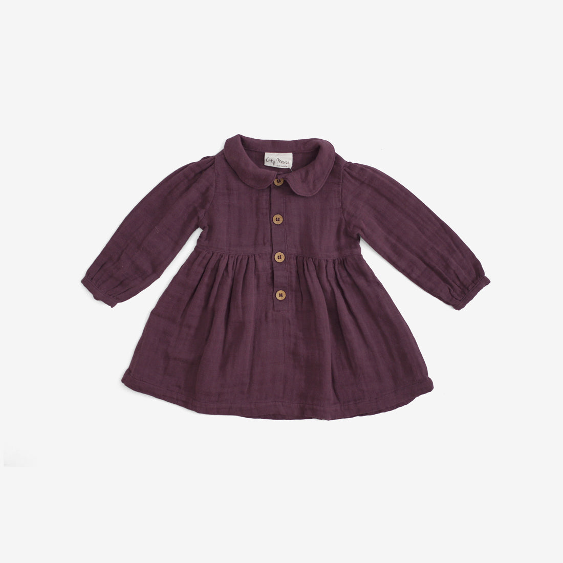 Organic Double Gauze Dress - Plum