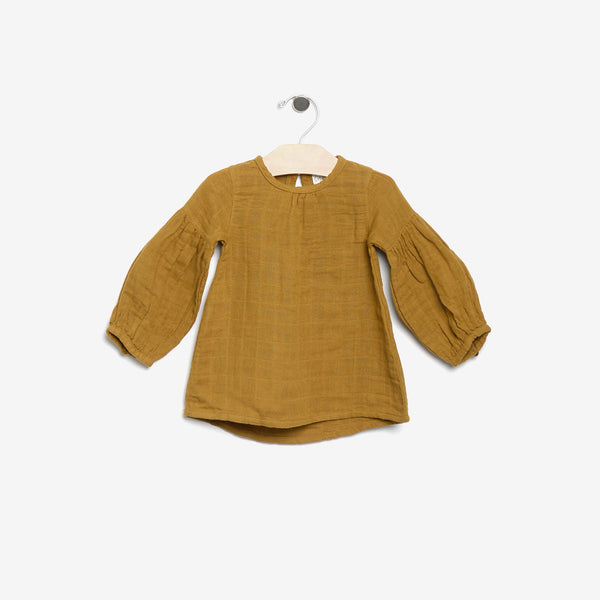 Organic Double Gauze Tunic Blouse - Gold