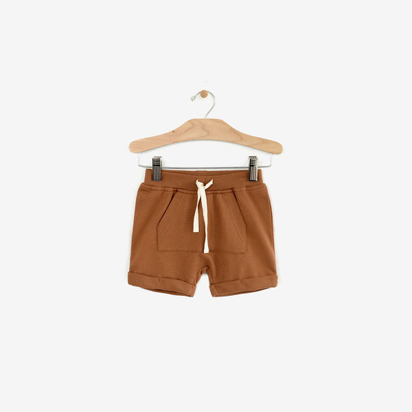 Organic Fleece Kangaroo Pocket Short - Toffee