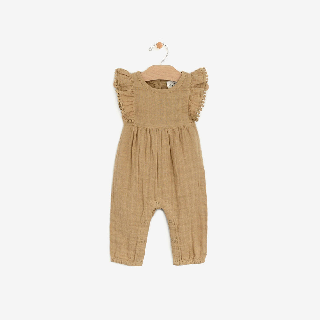 Organic Muslin Butterfly-sleeve Frill Romper - Curry