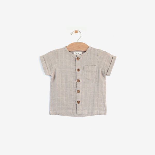 Organic Muslin Button-down - Raincloud