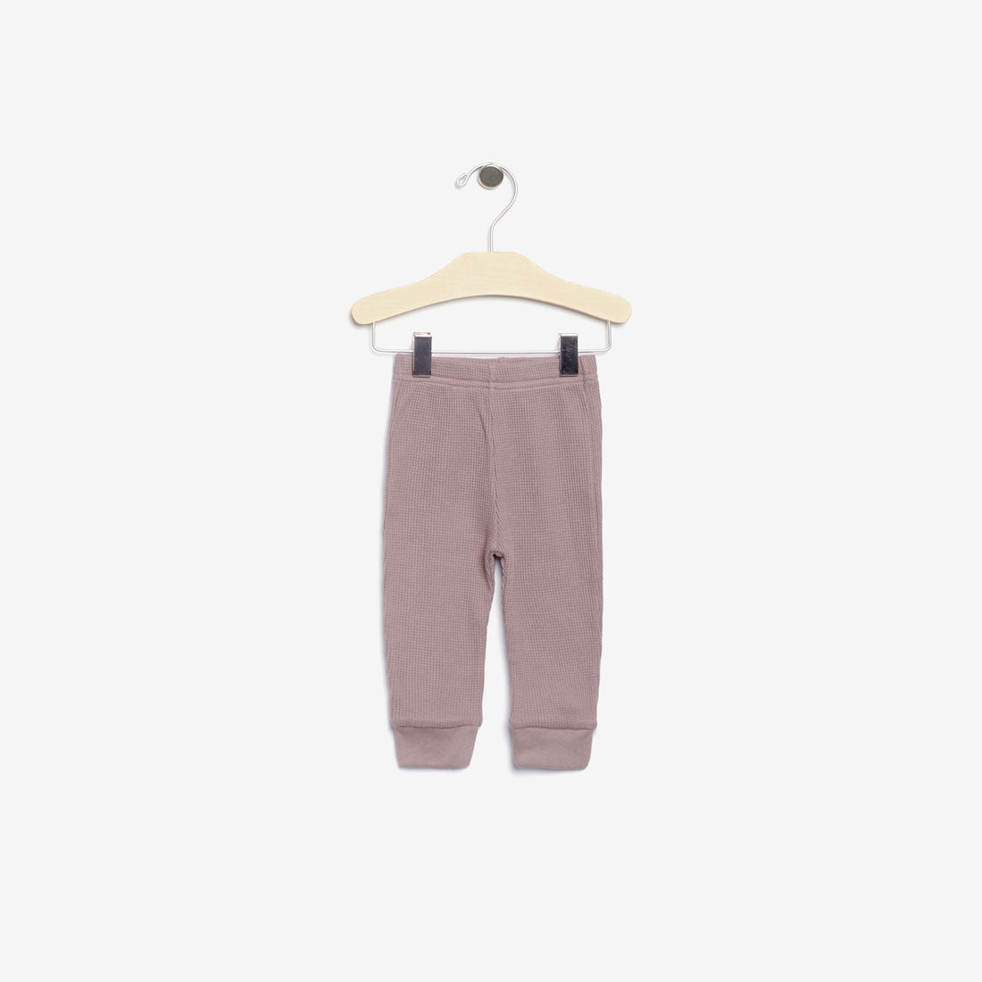 Organic Thermal Waffle-Weave Baby Pant - Pale Mauve