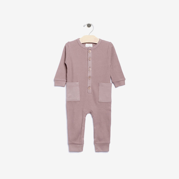 Organic Thermal Waffle-Weave Romper - Pale Mauve