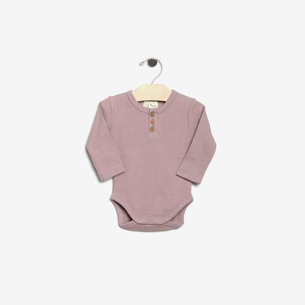 Organic Thermal Waffle-Weave Onesie - Pale Mauve