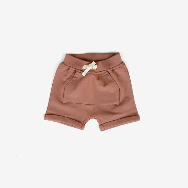 Organic Cotton Jersey Kangaroo Pocket Shorts - Clay