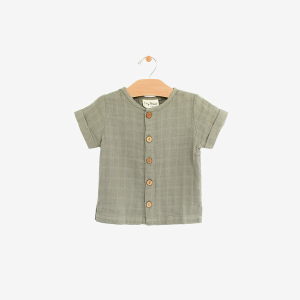 Organic Cotton Double Gauze Button-down - Sage