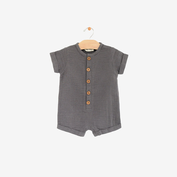 Organic Cotton Double Gauze Shortall Romper - Pewter Grey