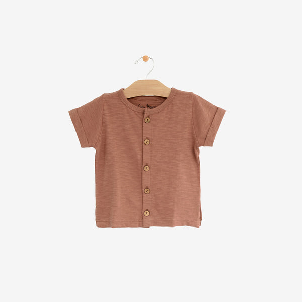 Organic Cotton Jersey Button-down Tee - Clay