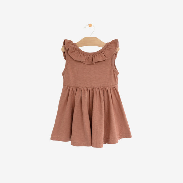 Organic Cotton Jersey Flutter V-Back Dress - Clay