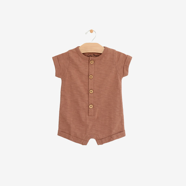 Organic Cotton Jersey Shortall Romper - Clay