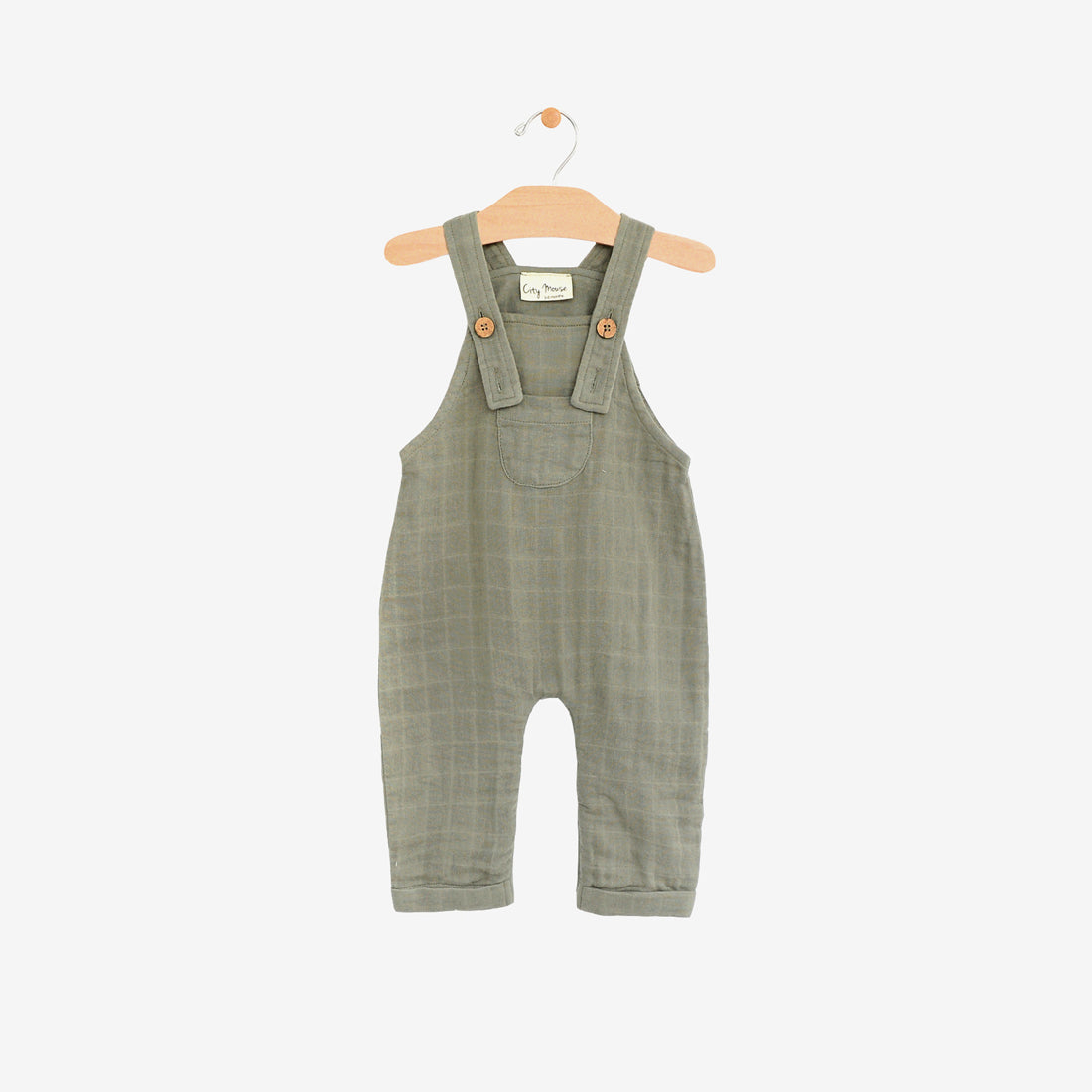 Organic Cotton Double Gauze Pocket Overall - Sage