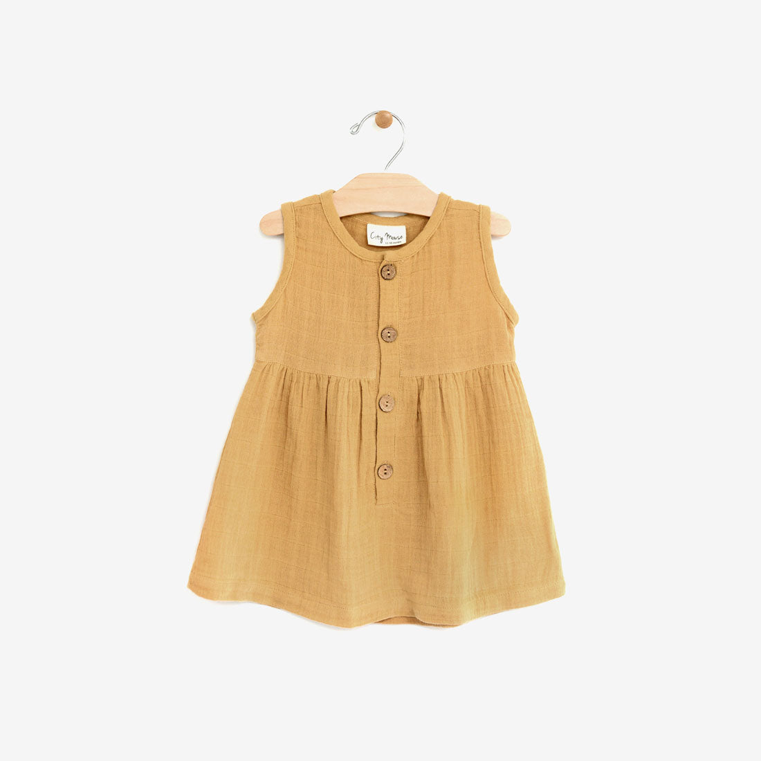 Organic Double Gauze Jumper Dress - Gold
