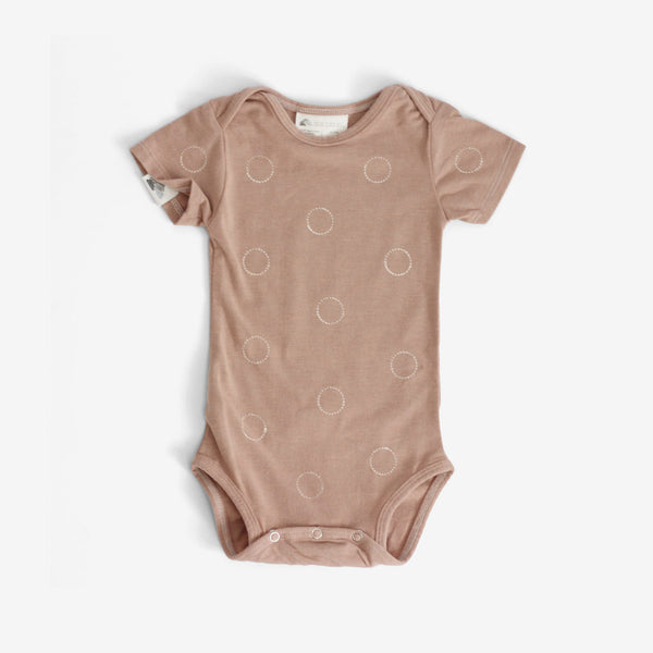 Circle & Dots Organic Onesie - Latte