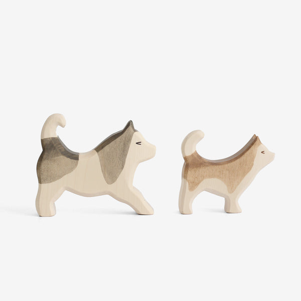 Waldorf Wooden Husky Pups Set