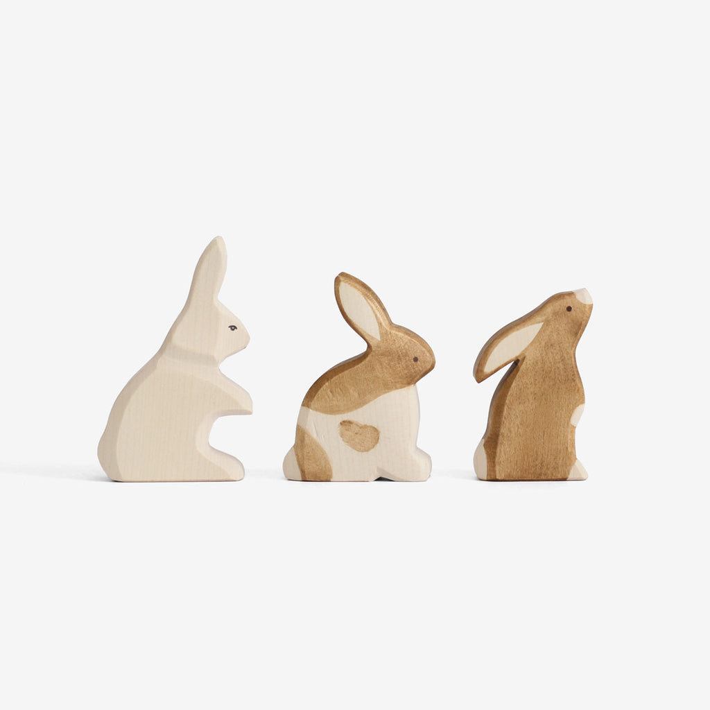 Waldorf Wooden Rabbits Set of 3