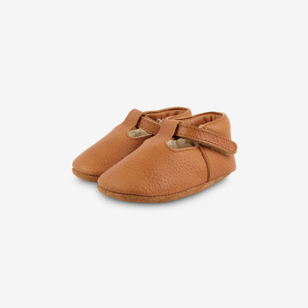 Elia Shearling Leather Baby Shoes - Toast