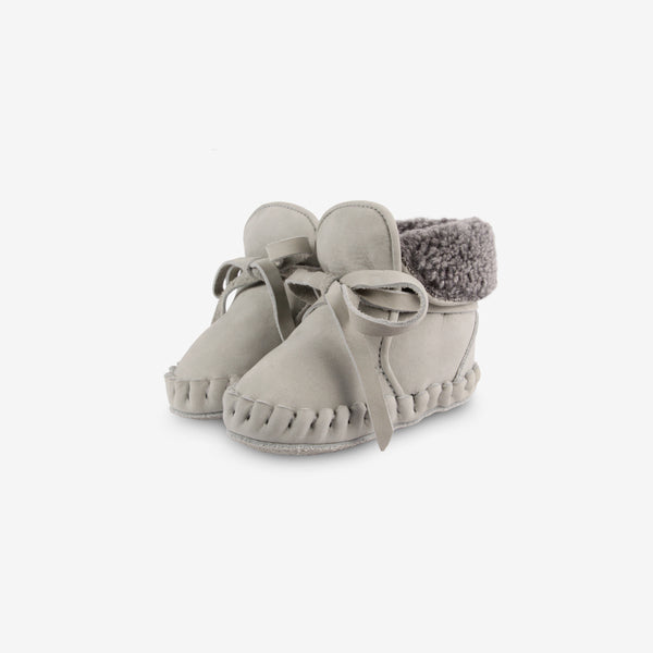 Jaya Shearling Leather Baby Boots - Light Grey