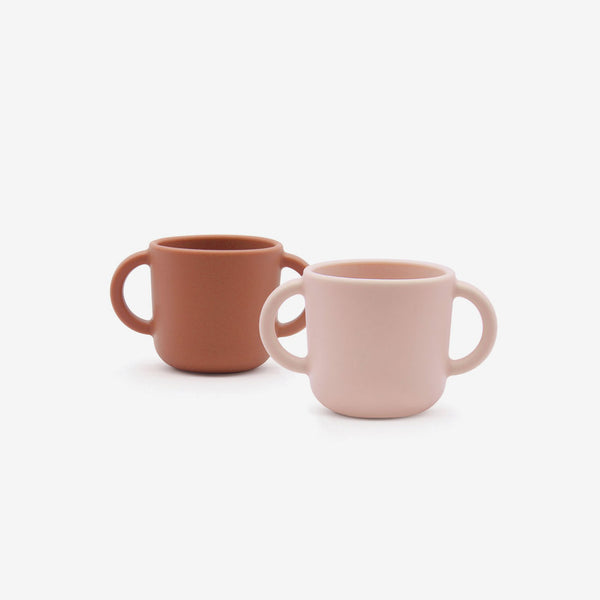 Silicone Cup with Handles 2-Pack - Blush + Terracotta