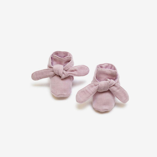 Organic Knotted Booties - Pink Lilac