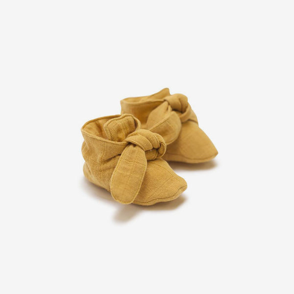 Organic Knotted Booties - Golden Mustard