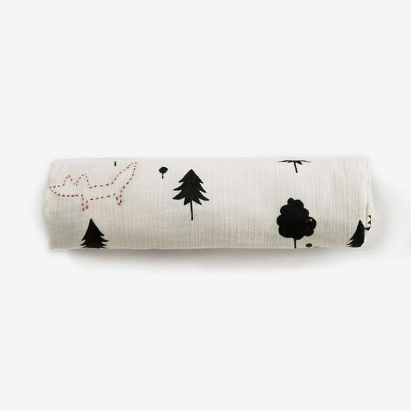 EFD with Rylee+Cru Organic Cotton Swaddle - forest fox